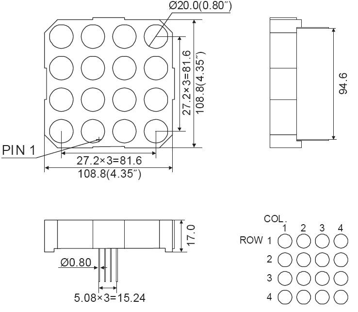 4 Inch 4x4 LED Dot Matrix
