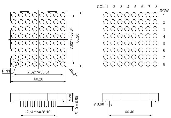 2 3 inch dot matrix led display
