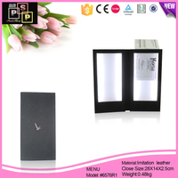 PU leather LED light menu cover menu book