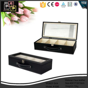 Pu leather custom Pu leather 5 Slots leather Black Watch Collection Box with Glass Top