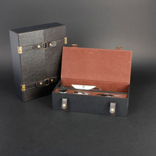 Wine Box Manufacturer Handicraft work black faux leather wine box