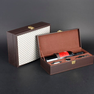 Wine Box Manufacturer White PU leather bottle packing card box