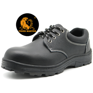 Slip Acid Resistant Black Leather Oil Field Work Shoes Steel Toe