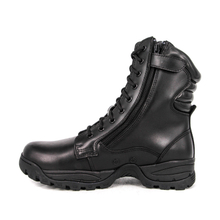 Black men police zipper military leather boots 6273