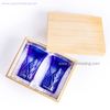 Hand Cutting Cobalt Blue Whiskey Shot Glass with Gift Box for Wedding And Collection