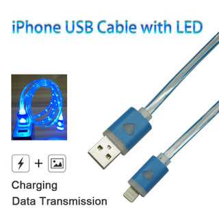 USB Charging Cable with LED for iPhone