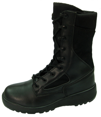 Black genuine leather and fabric military army boots