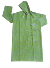 Green outdoor PVC long waterproof rainwear raincoat
