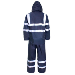 navy blue rain suit with reflective tape pvc two piece raincoat