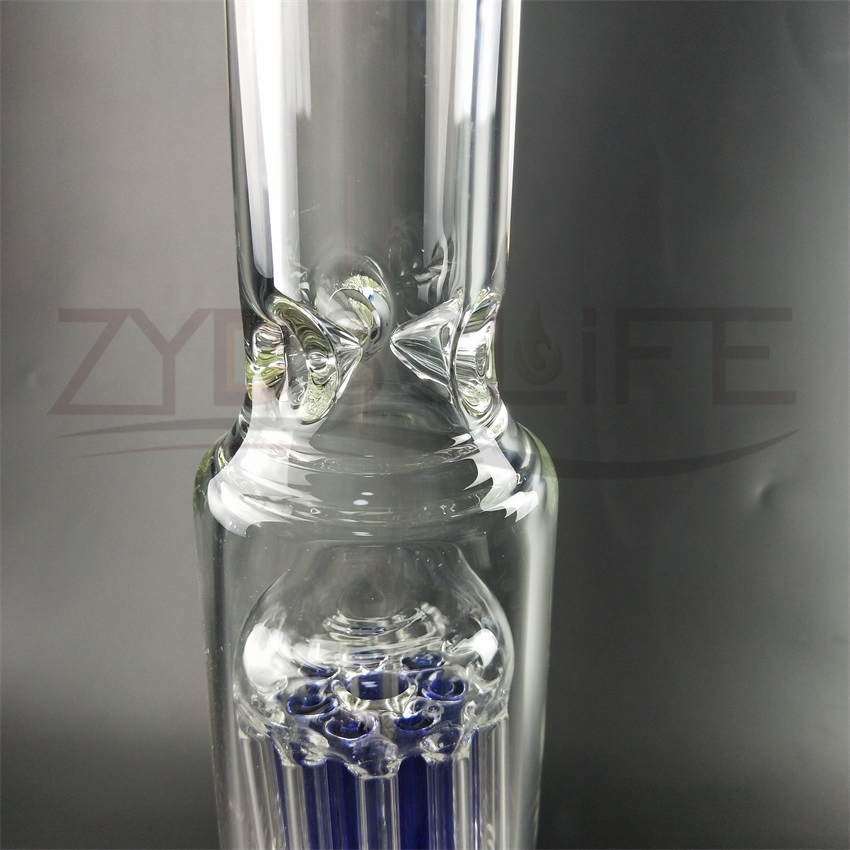 Blue Filter Glass Water Pipe with Sound Recycler