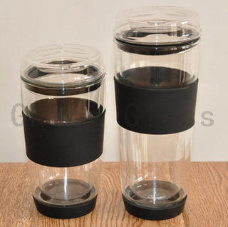 D01W026AB Double Wall Glass Mug with Silicone Sleeve And Base
