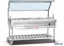 HBW-4G 4-Pan Bain Marie Trolley with Glass Top