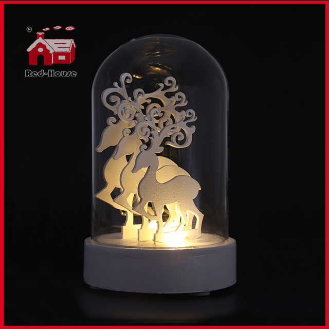 Multi Beautiful Design Wholesale Glass Dome with Base LED Glass Decoration Glass Bell Dome Angel Deer House