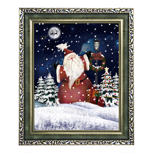(WP046ST5-GJG) Snowing Wall Plaque with Santa Scene and Various Wooden Frames for New Year Decoration