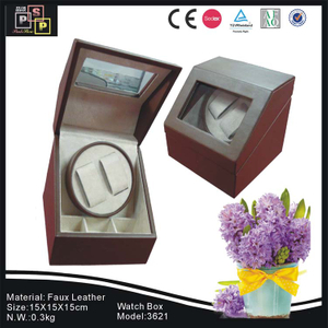 PU leather Glass Top single watch winder watch box
