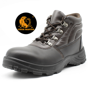 Anti Slip Oil Proof Brown Leather Working Shoes Steel Toe