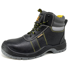 Black Leather Steel Toe Puncture Proof Industrial Safety Boots for Men