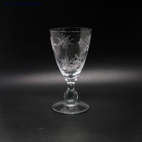 clear drinking glass cup with sandblasted pattern