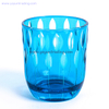 creative hand engraved blue glass candlestick