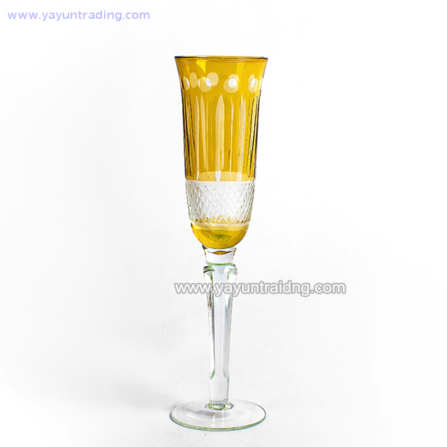 hand made yellow glass wine 150ml champagne flutes