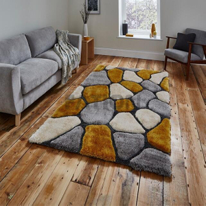 Polyester Shag Collection 3D Stone Design Floor Carpet