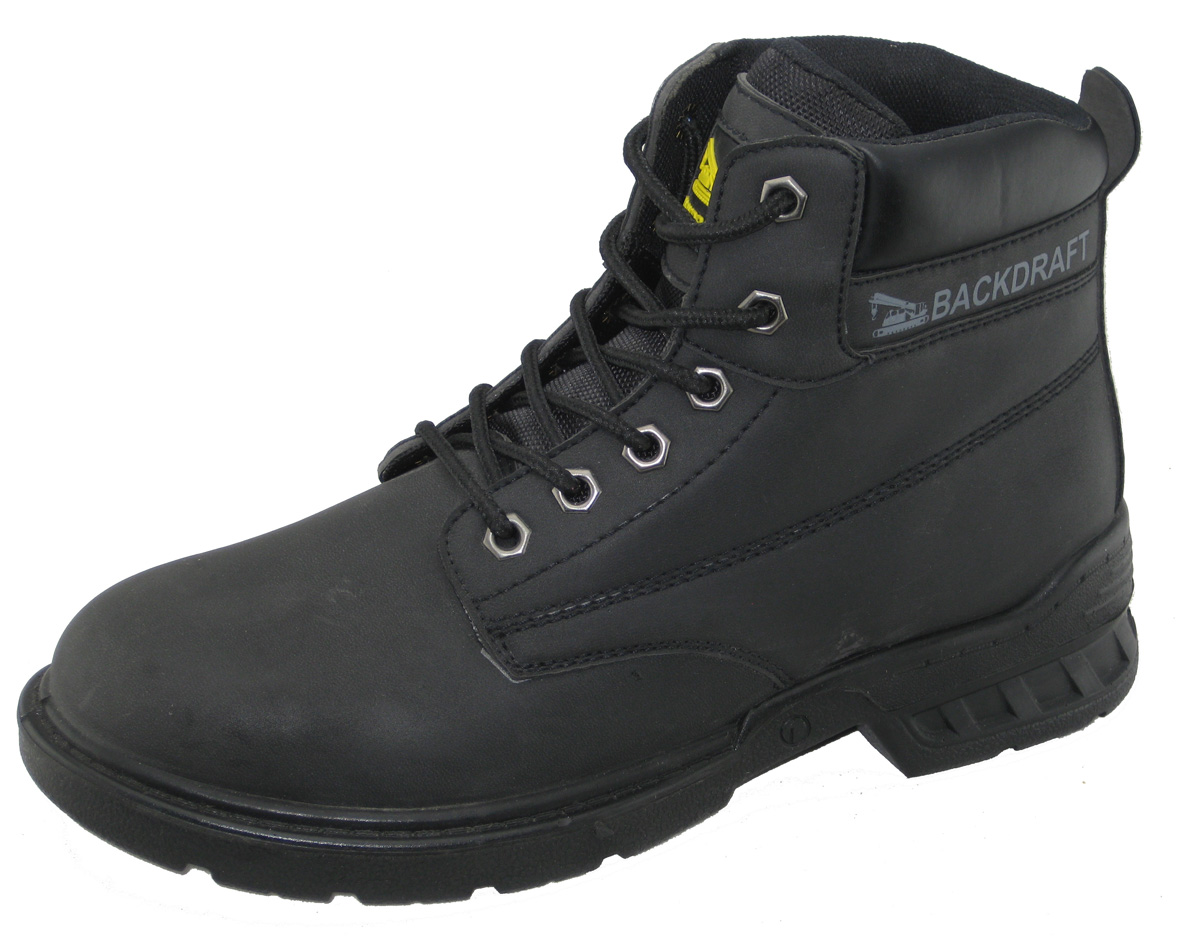 Construction safety boots with steel toe and steel plate