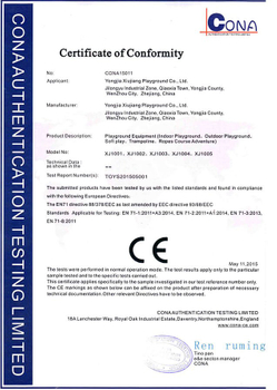 CE certificate of Indoor Playground Equipment