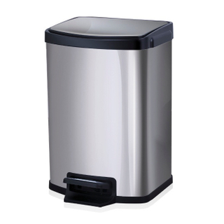 Satin Hydraulic Buffer Square Pedal trash can (KL-012)