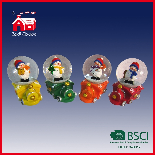 Lovely Snowman Inside Mini Train Base Holiday Gift Water Snow Globe