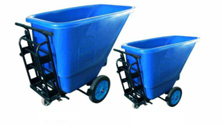 Plastic Tilt Container Rubbish Cleaning Trolley Cart (KL-110)