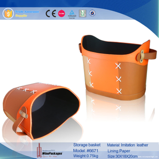Wholesale PU Leather Food Storage Basket