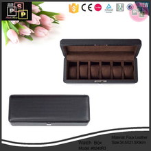 China factory supplier custom hand made black leather watch box long
