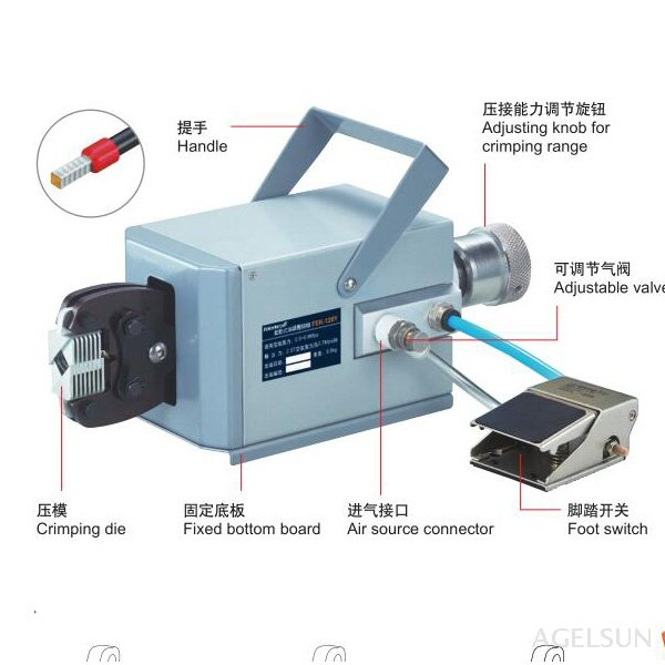 FEK-120Y High Quality Pneumatic Type Crimping Machine Air Crimper for Different Terminals Cable Tools Wire Crimp Tool