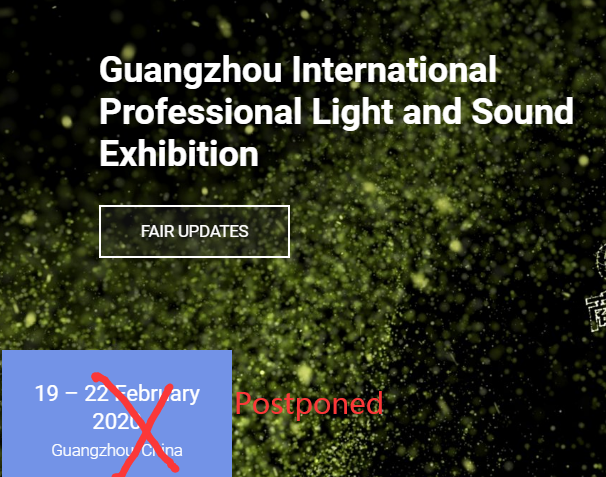 Pameran Guangzhou Prolight Sound 2020 telah ditunda