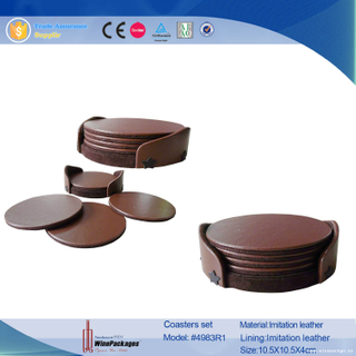 Cheap Round PU Leather 5PCS Tea Cup Coaster Set
