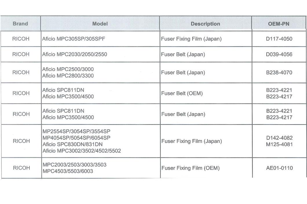 D142-4082 Fuser Belt for Ricoh Aficio MPC3502 MPC4502 MPC5502 fuser
