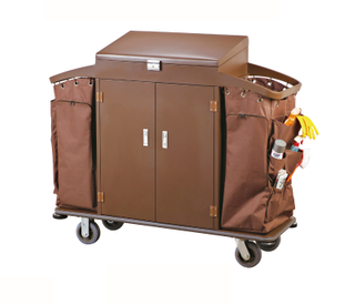 Multi-Function Three Layers Ironwood Hotel Guest Room Cleaning Linen Trolley / Laundry Trolley (FW-128K)