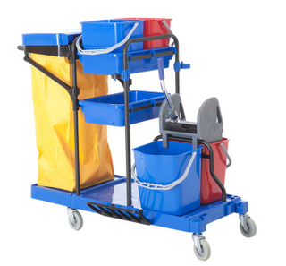 Plastic Multi-Functional Cleaning Trolley Janitor Cart (FW-173)