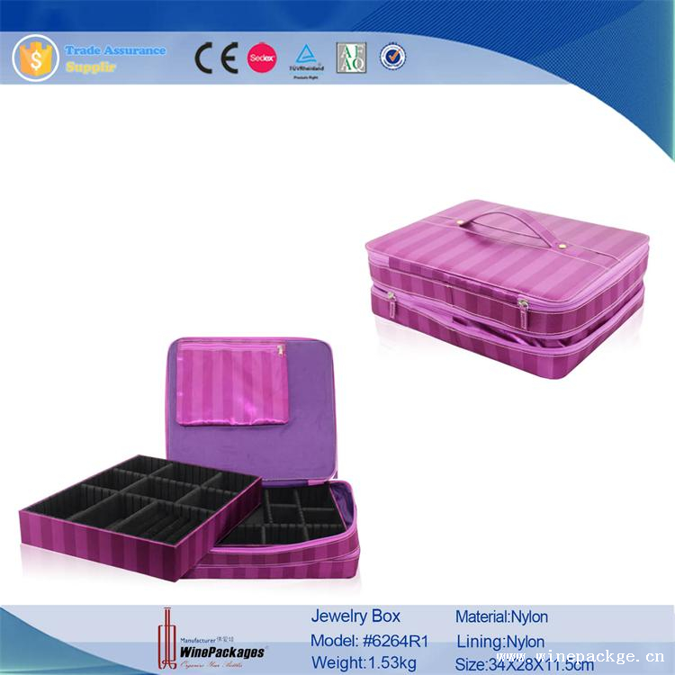 pink women use style jewelry/jewellery box custom logo with compartments