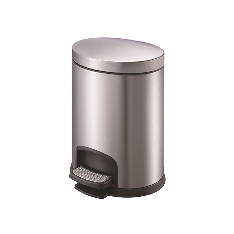 Oval Shape Stainless Steel Foot Pedal Bin with Black Color (12 L/KL-032)
