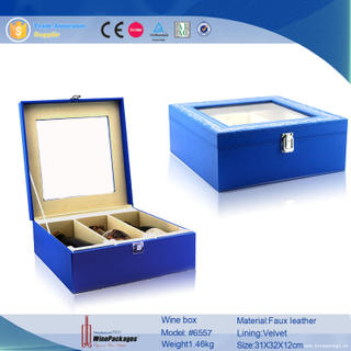 mdf board wood wine fancy glass packaging box with transparent cover lid