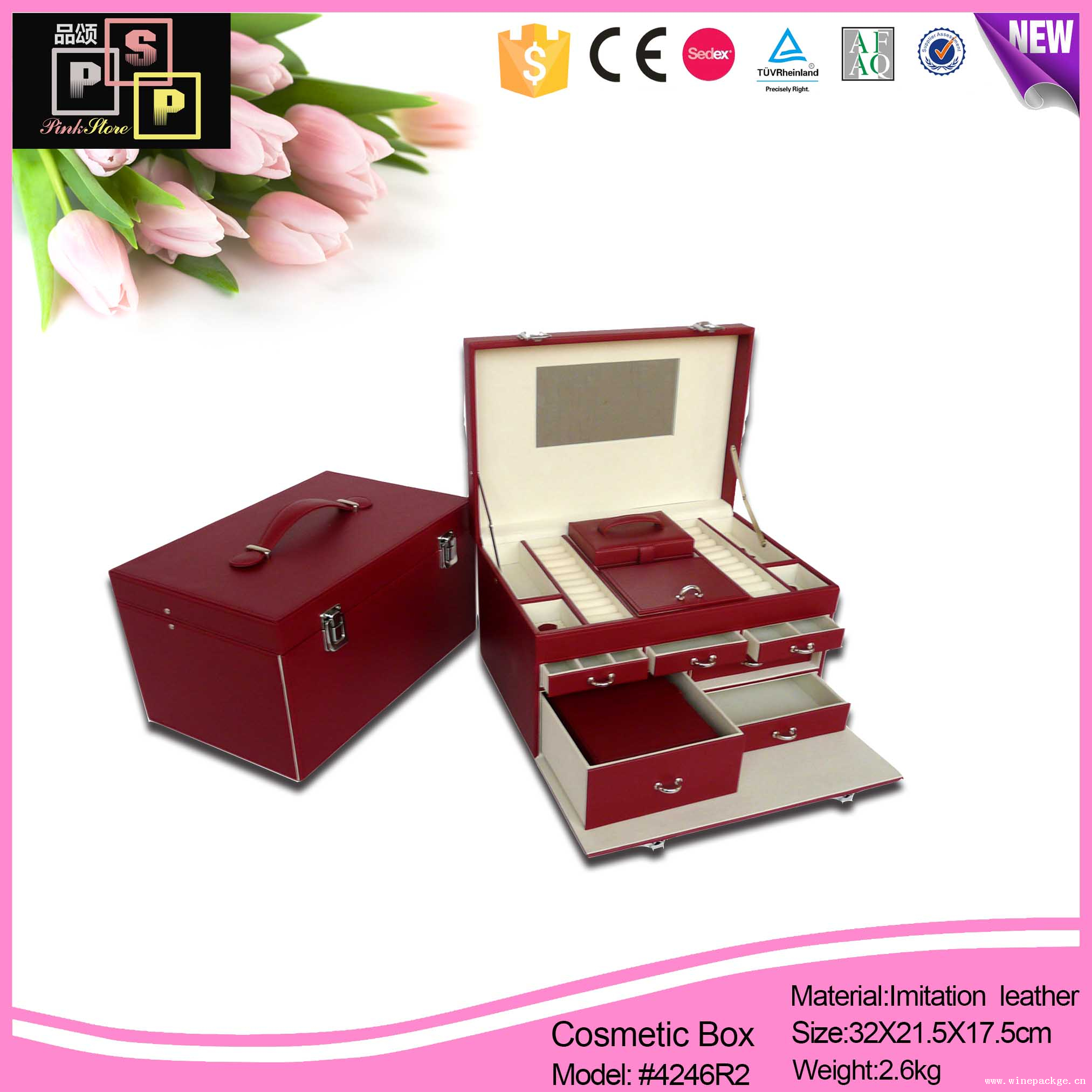 High Quality Luxury Jewelry Leather Storage Box