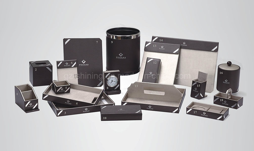 Hotel Guest Room Amenities Set with Leatherette