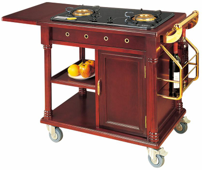 Two Stove Trolley for Cooking with Wood and Titanium (FW-83)