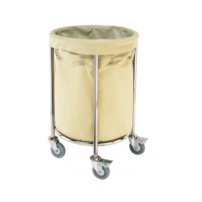 Three Size Round Stainless Steel Hotel Guest Room Laundry Trolley / Hospital Linen Trolley Cart Four Wheels FW-62