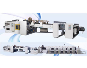 Printing, slotting and die cutting machine