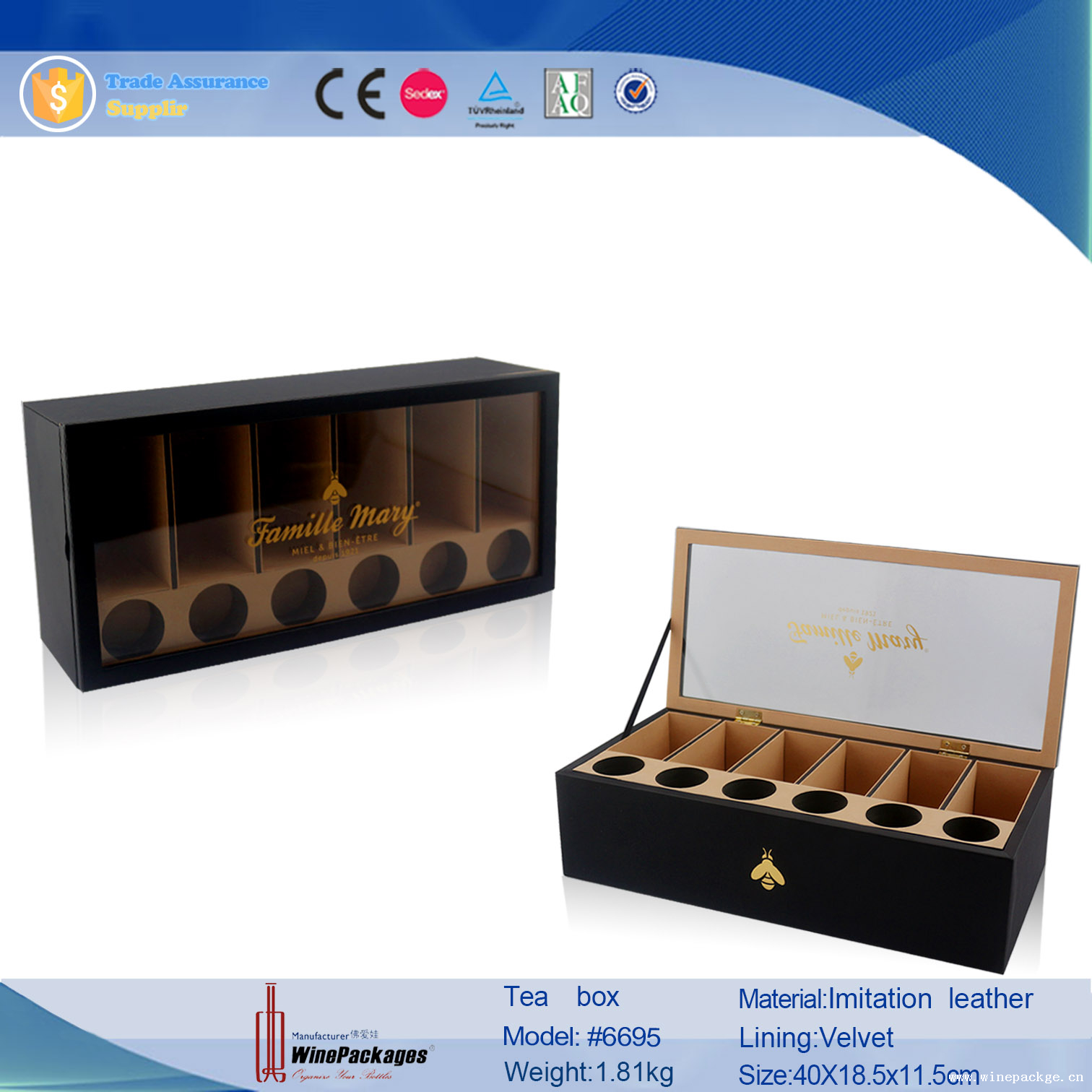 High-end Black Faux Leather Wood Tea Package Boxes
