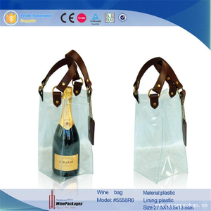recycled paper hang tag transparent plastic drink bag for wine