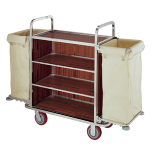Hotel Stainless Steel Housekeeping Cart, Maid′s Cart, Linen Trolley (FW-06)