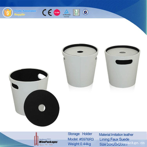 wholesale housewares leather storage bucket with round lid